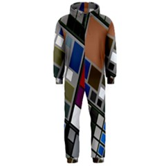 Abstract Composition Hooded Jumpsuit (men)