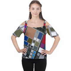 Abstract Composition Cutout Shoulder Tee