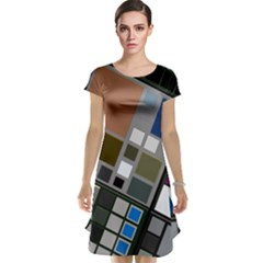 Abstract Composition Cap Sleeve Nightdress