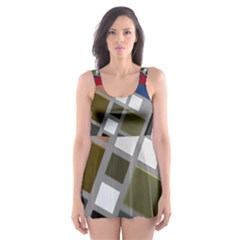Abstract Composition Skater Dress Swimsuit
