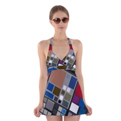 Abstract Composition Halter Swimsuit Dress