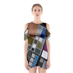 Abstract Composition Shoulder Cutout One Piece