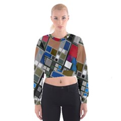 Abstract Composition Cropped Sweatshirt