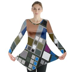 Abstract Composition Long Sleeve Tunic