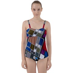 Abstract Composition Twist Front Tankini Set