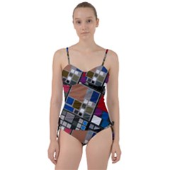 Abstract Composition Sweetheart Tankini Set