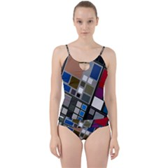 Abstract Composition Cut Out Top Tankini Set