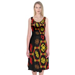 Algorithmic Drawings Midi Sleeveless Dress