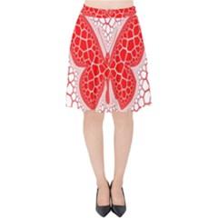 Butterfly Velvet High Waist Skirt