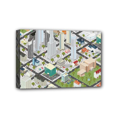 Simple Map Of The City Mini Canvas 6  X 4