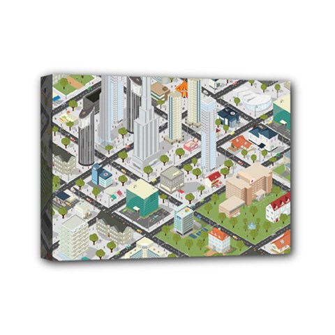 Simple Map Of The City Mini Canvas 7  X 5