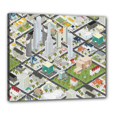 Simple Map Of The City Canvas 24  X 20