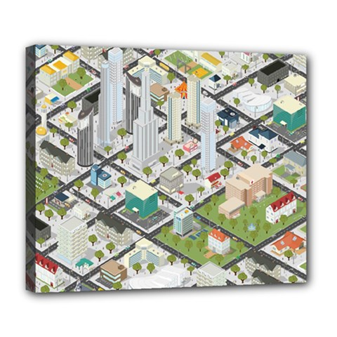 Simple Map Of The City Deluxe Canvas 24  X 20