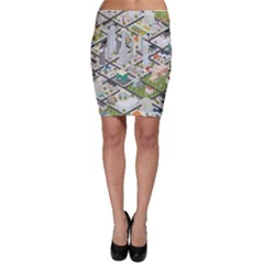 Simple Map Of The City Bodycon Skirt
