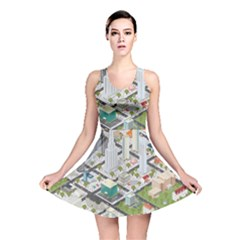 Simple Map Of The City Reversible Skater Dress