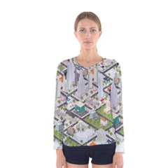 Simple Map Of The City Women s Long Sleeve Tee