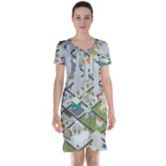 Simple Map Of The City Short Sleeve Nightdress