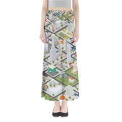 Simple Map Of The City Full Length Maxi Skirt