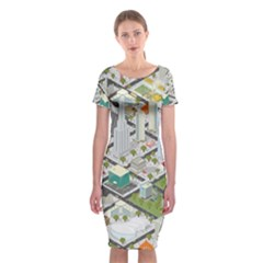 Simple Map Of The City Classic Short Sleeve Midi Dress