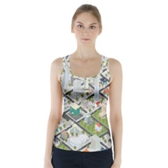 Simple Map Of The City Racer Back Sports Top