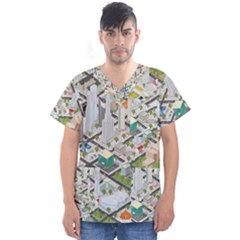 Simple Map Of The City Men s V Neck Scrub Top