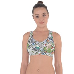 Simple Map Of The City Cross String Back Sports Bra