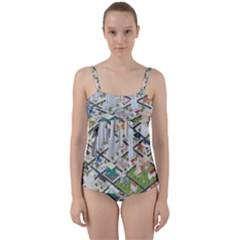 Simple Map Of The City Twist Front Tankini Set