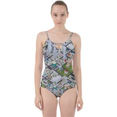 Simple Map Of The City Cut Out Top Tankini Set