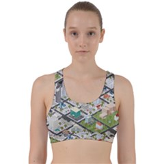 Simple Map Of The City Back Weave Sports Bra