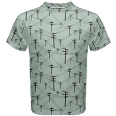 Telephone Lines Repeating Pattern Men s Cotton Tee