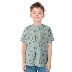 Telephone Lines Repeating Pattern Kids  Cotton Tee