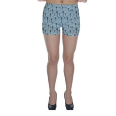 Telephone Lines Repeating Pattern Skinny Shorts