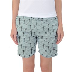 Telephone Lines Repeating Pattern Women s Basketball Shorts