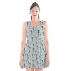Telephone Lines Repeating Pattern Scoop Neck Skater Dress
