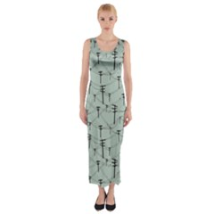 Telephone Lines Repeating Pattern Fitted Maxi Dress
