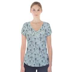Telephone Lines Repeating Pattern Short Sleeve Front Detail Top