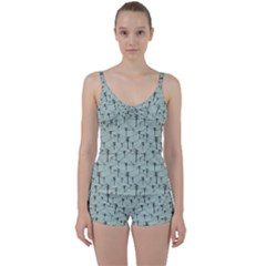 Telephone Lines Repeating Pattern Tie Front Two Piece Tankini