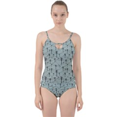 Telephone Lines Repeating Pattern Cut Out Top Tankini Set
