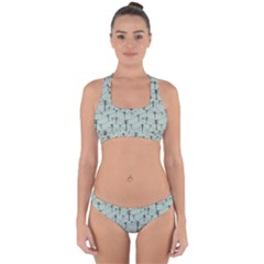 Telephone Lines Repeating Pattern Cross Back Hipster Bikini Set