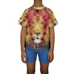 Fractal Lion Kids  Short Sleeve Swimwear