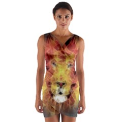 Fractal Lion Wrap Front Bodycon Dress
