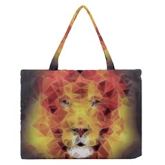 Fractal Lion Zipper Medium Tote Bag