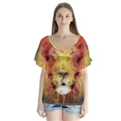 Fractal Lion V Neck Flutter Sleeve Top
