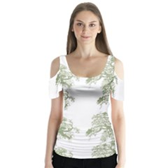 Trees Tile Horizonal Butterfly Sleeve Cutout Tee