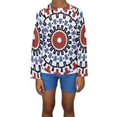 Mandala Art Ornament Pattern Kids  Long Sleeve Swimwear