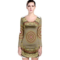 Mandala Art Ornament Pattern Long Sleeve Bodycon Dress