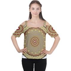 Mandala Art Ornament Pattern Cutout Shoulder Tee