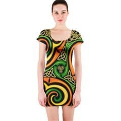 Celtic Celts Circle Color Colors Short Sleeve Bodycon Dress
