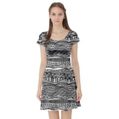 Ethno Seamless Pattern Short Sleeve Skater Dress