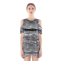 Ethno Seamless Pattern Shoulder Cutout One Piece